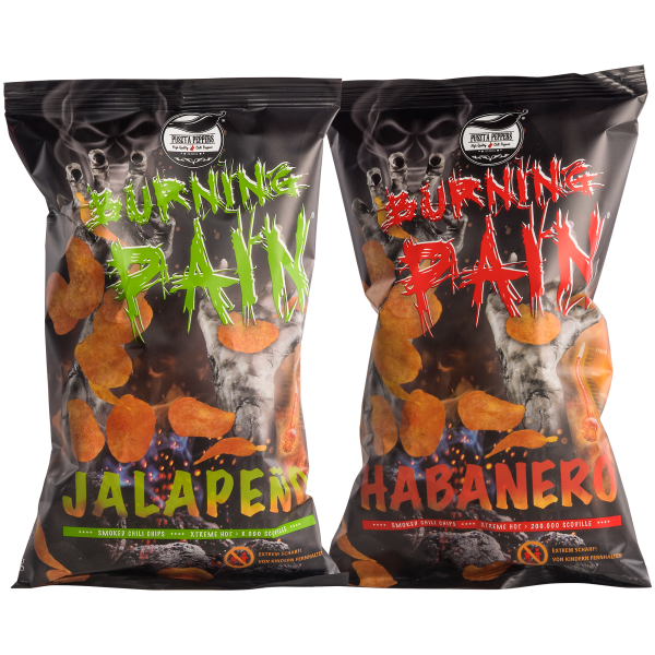 Puszta Peppers Burning Pain Jalapeño & Habanero Kartoffelchips - Mix-Pack